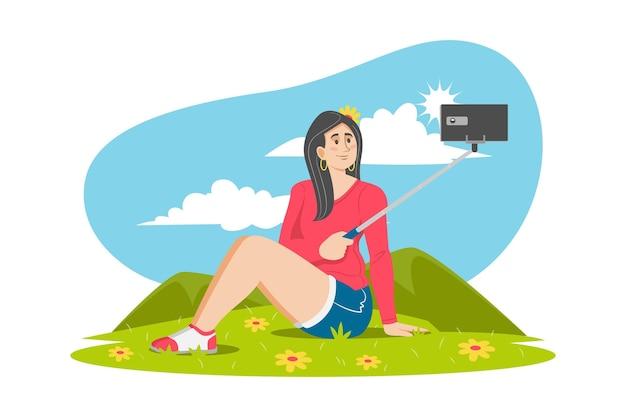 Ilustração plana de pessoas tirando fotos com smartphone