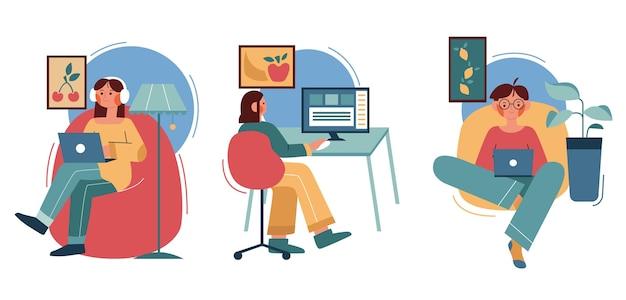 Ilustração plana de pessoas trabalhando remotamente