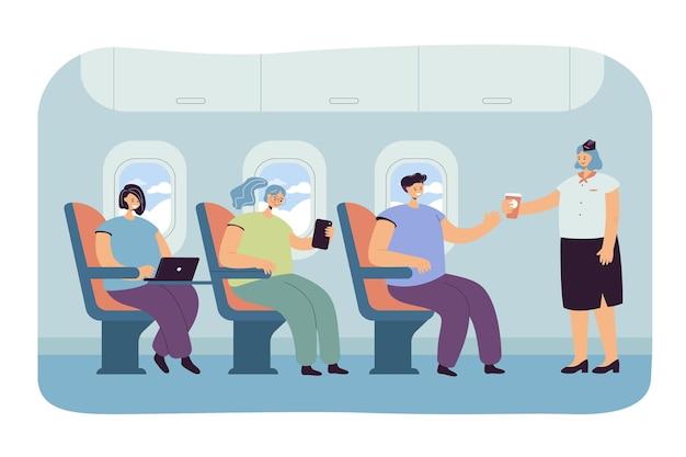 Ilustração plana de pessoas viajando de avião