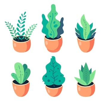 Ilustração plana de plantas caseiras em vasos de barro