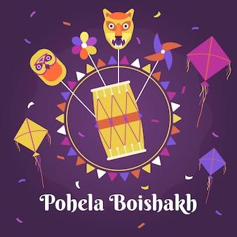 Ilustração plana de pohela boishakh