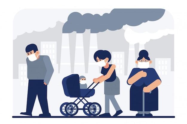 Ilustração plana de poluição do ar. moradores, mãe triste com bebê usando personagens de desenhos animados de máscaras médicas protetoras. tubos de fábrica emitindo fumaça. poeira fina, poluição industrial, gás poluente