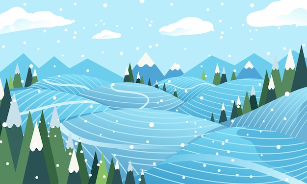 Ilustração plana de prados no inverno.