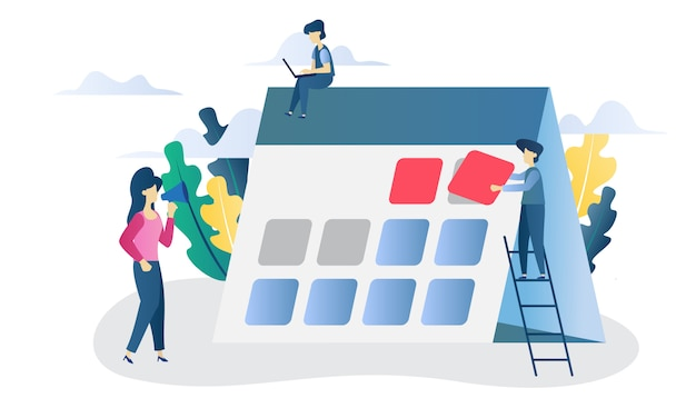 Ilustração plana de prazo de conceito de negócio