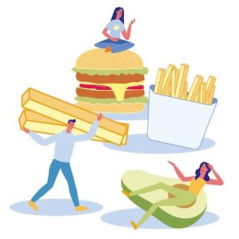 Ilustração plana de preferências de nutrição