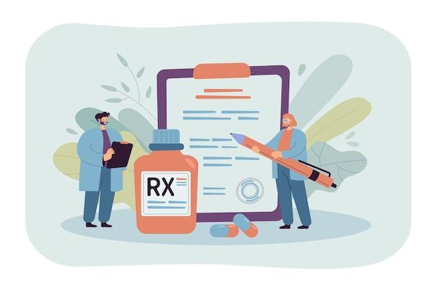 Ilustração plana de prescrição rx