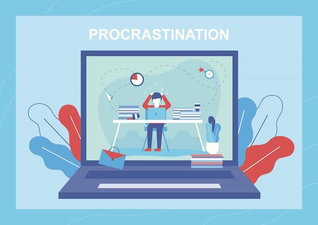 Ilustração plana de procrastinação com homem conturbado
