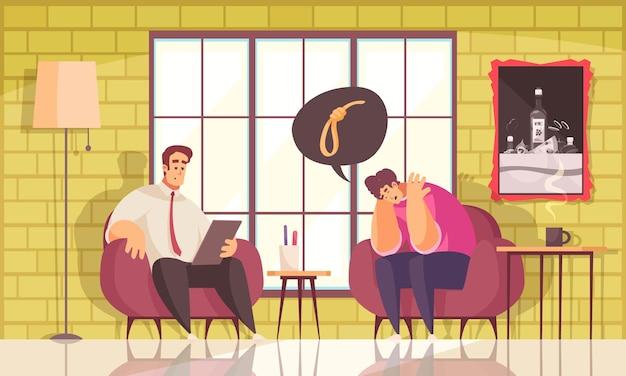 Ilustração plana de psicoterapia, prevenção e tratamento de suicídio