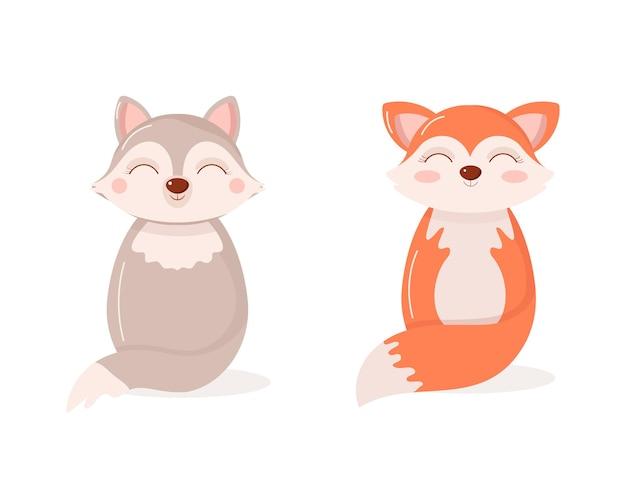 Ilustração plana de raposas e lobos de animais selvagens
