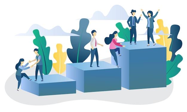 Ilustração plana de realização de conceito de negócio