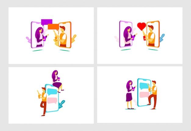 Ilustração plana de relacionamento móvel