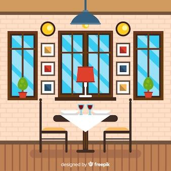 Ilustração plana de restaurante