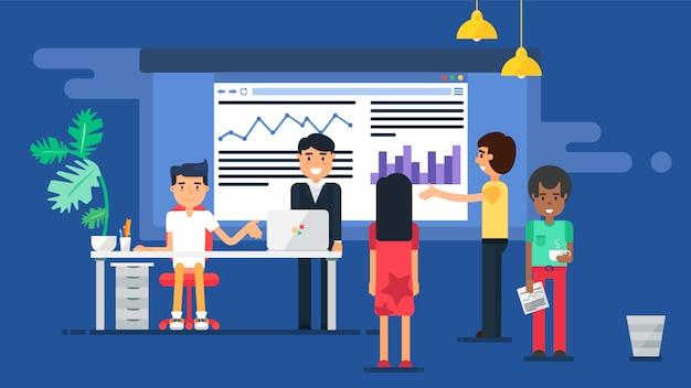 Ilustração plana de reunião de negócios