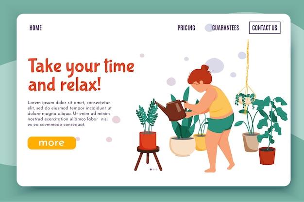 Ilustração plana de rotina diária feminina para a página de destino do site com uma personagem feminina regando flores com links