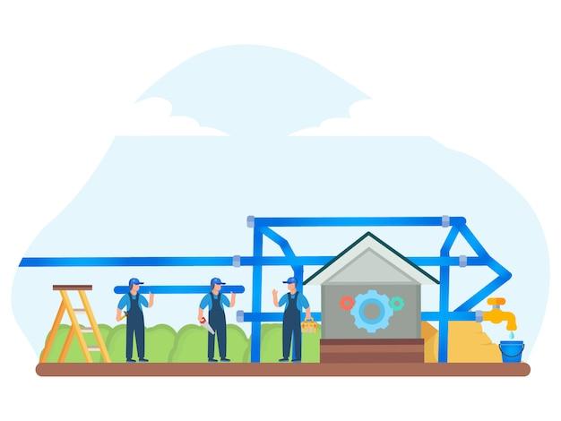 Ilustração plana de saneamento