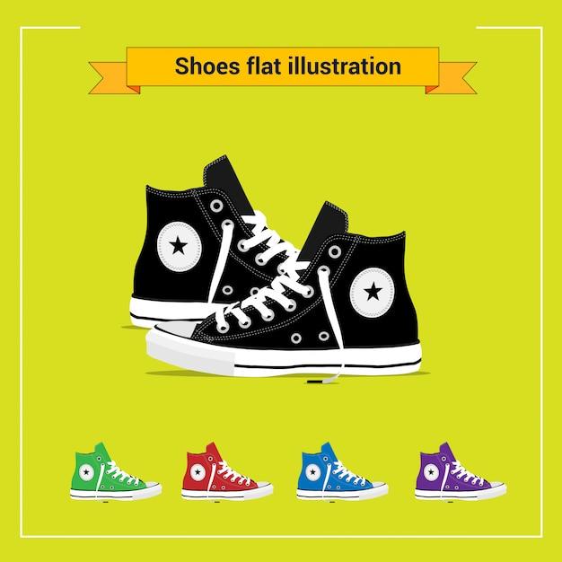 Ilustração plana de sapatos