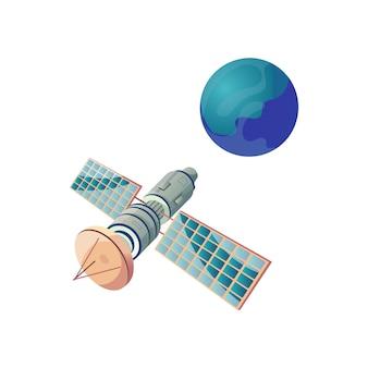 Ilustração plana de satélite e planeta terra em branco isolado