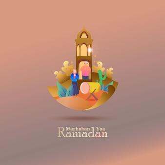 Ilustração plana de saudação post para ramadan kareem