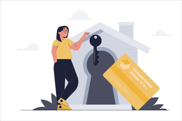 Ilustração plana de segurança de cartão de crédito