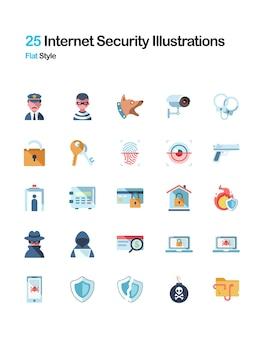 Ilustração plana de segurança na internet