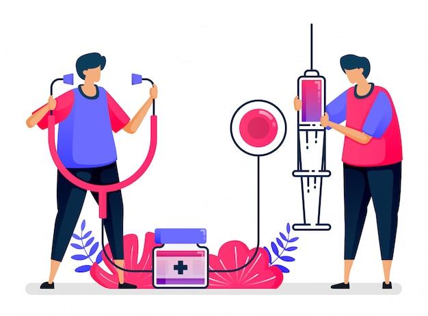 Ilustração plana de serviços públicos de saúde para vacinação, tratamento, terapia e medicina. design para cuidados de saúde.