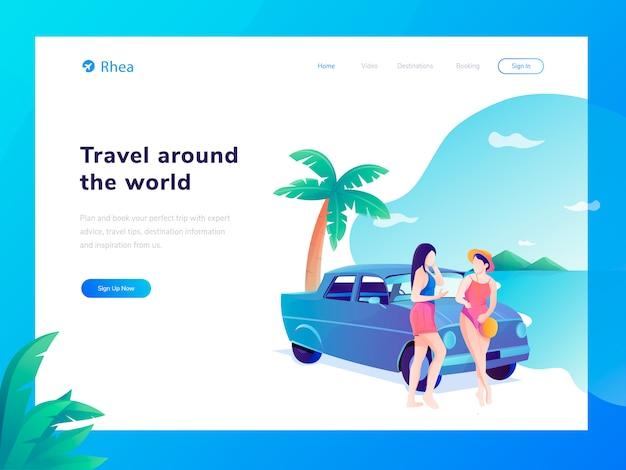 Ilustração plana de site de viagens