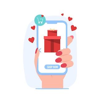 Ilustração plana de smartphone na mão com presente para compras online