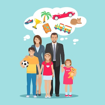 Ilustração plana de sonhos todos os membros da família pais e filhos