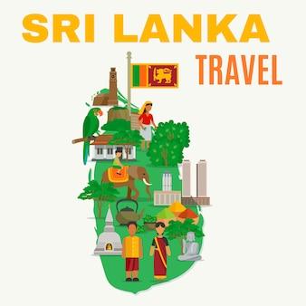 Ilustração plana de sri lanka