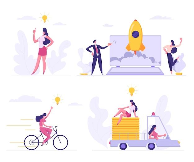 Ilustração plana de start up de negócios