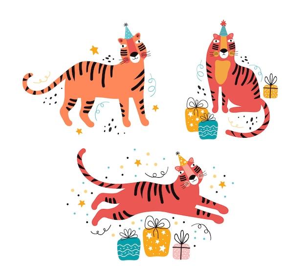 Ilustração plana de tigre com tipografia de saudação. aniversário, feriado, ano novo, festa animal mão desenhado conjunto. personagem de gato selvagem engraçado no feriado. decoração festiva, presentes, confetes, serpentina