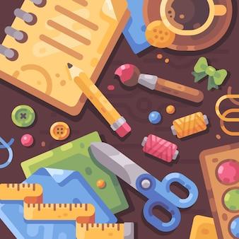 Ilustração plana de trabalho criativo. desktop preenchido com materiais de arte e materiais de artesanato