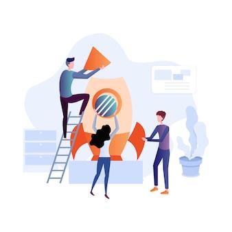 Ilustração plana de trabalho em equipe