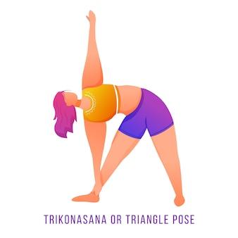 Ilustração plana de trikonasana. pose do triângulo. mulher caucausiana fazendo ioga em roupas esportivas laranja e roxas. treino, preparação física. exercício físico. personagem de desenho animado isolada em fundo branco