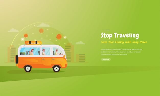 Ilustração plana de um apelo para que as famílias não viajem durante uma pandemia