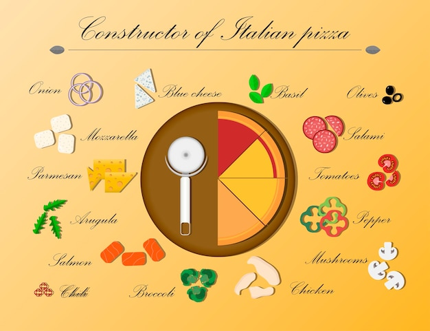 Ilustração plana de um designer de pizza italiana em uma bandeja de madeira.