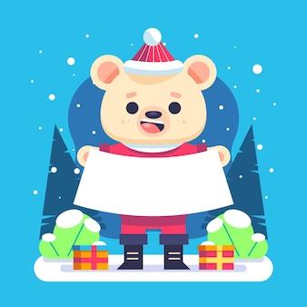 Ilustração plana de um personagem de natal segurando uma faixa em branco
