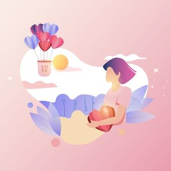 Ilustração plana de uma mulher esperando por amor
