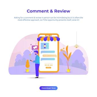 Ilustração plana de uma revisão de homem e comentário para loja online