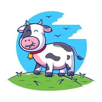 Ilustração plana de vaca fofa comendo grama