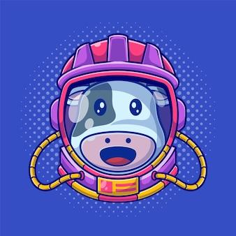 Ilustração plana de vaca linda astronauta usando capacete