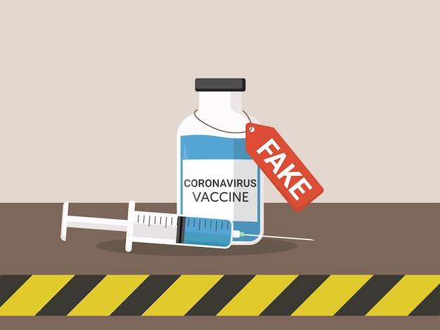 Ilustração plana de vacina falsa de coronavírus