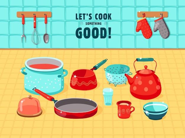Ilustração plana de vários utensílios de cozinha Vetor Premium