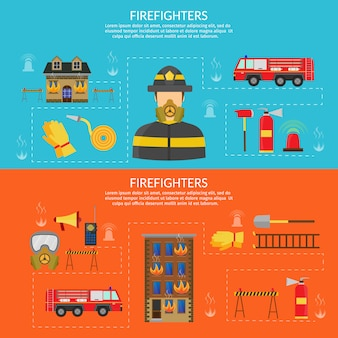 Ilustração plana de vetor de caráter de combate a incêndios e infográfico, machado, gancho e hidrante banner