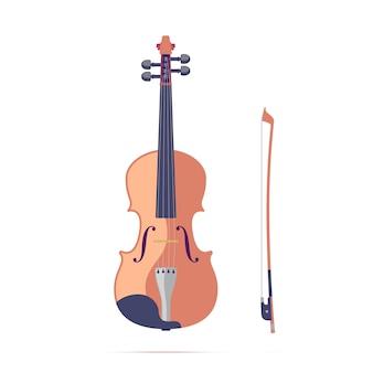 Ilustração plana de violino