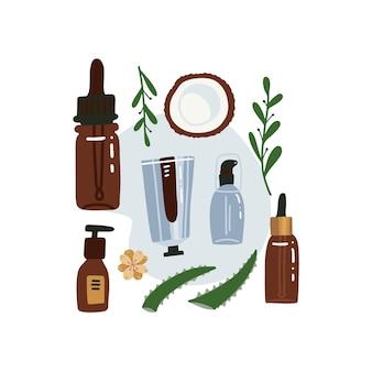Ilustração plana de vista superior de cosméticos orgânicos isolada em um fundo branco. frascos de vidro e tubo de metal com plantas, flores e babosa.