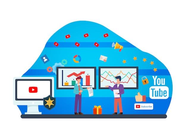 Ilustração plana de youtuber