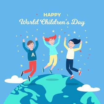 Ilustração plana design do dia mundial da criança