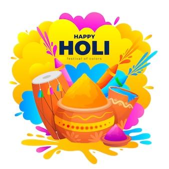 Ilustração plana detalhada do feliz festival de holi