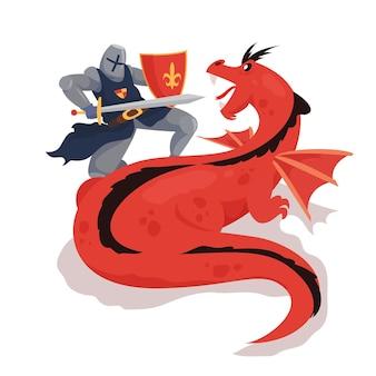 Ilustração plana diada de sant jordi com cavaleiro lutador dragão